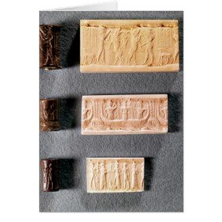 Tres sellos del cilindro con las impresiones, tarjeta de felicitación