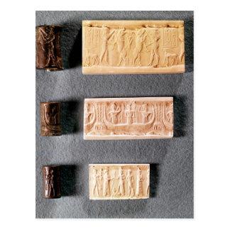 Tres sellos del cilindro con las impresiones, tarjetas postales