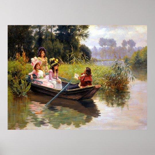 Tres señoras y un hombre en un barco póster