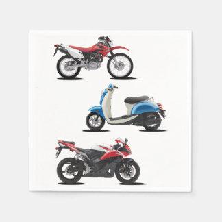 Tres servilletas de papel de las motocicletas