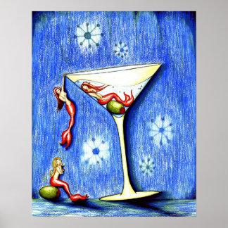Tres sirena Martini Posters