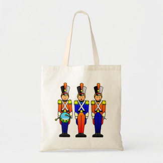 Tres soldados de juguete elegantes en desfile bolsa tela barata