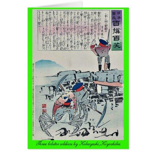 Tres soldados de la langosta por Kobayashi, Kiyoch Felicitación
