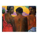"""""""Tres Tahitians"""" - Paul Gauguin Postal"""