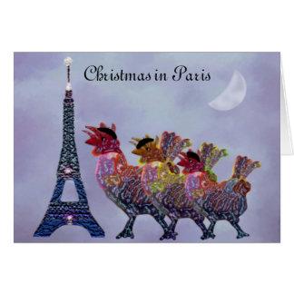 Tres tarjetas francesas de las gallinas