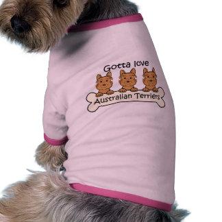 Tres terrieres australianos camisa de perro