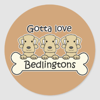 Tres terrieres de Bedlington Etiqueta Redonda