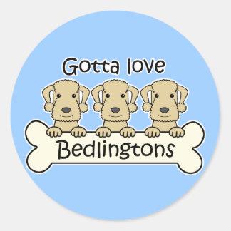 Tres terrieres de Bedlington Pegatina Redonda