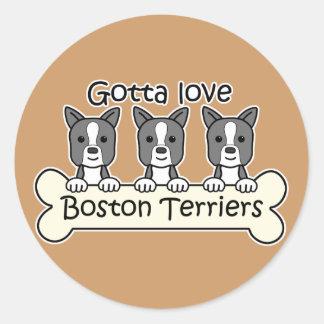 Tres terrieres de Boston Pegatina Redonda
