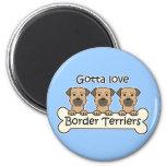Tres terrieres de frontera imán de frigorífico