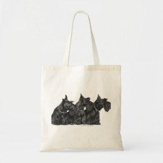 Tres terrieres escoceses curiosos bolsa tela barata