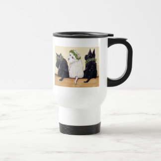 Tres terrieres sabios taza de café