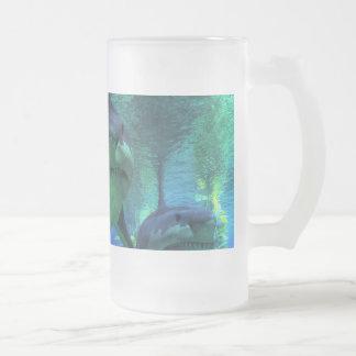 Tres tiburones taza de cristal