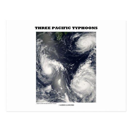 Tres tifones pacíficos (imagen por satélite) postales