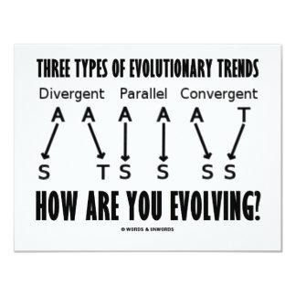 """Tres tipos de tendencias evolutivas (evolución) invitación 4.25"""" x 5.5"""""""