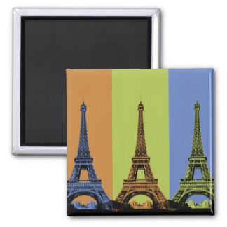 Tres torres Eiffel en París Imán Cuadrado