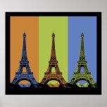 Tres torres Eiffel en París Impresiones