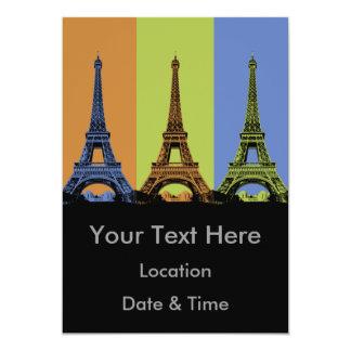 """Tres torres Eiffel en París Invitación 5"""" X 7"""""""