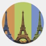 Tres torres Eiffel en París Pegatinas Redondas