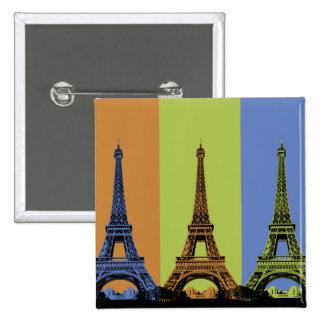 Tres torres Eiffel en París Pin Cuadrado