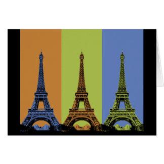 Tres torres Eiffel en París Tarjeta De Felicitación