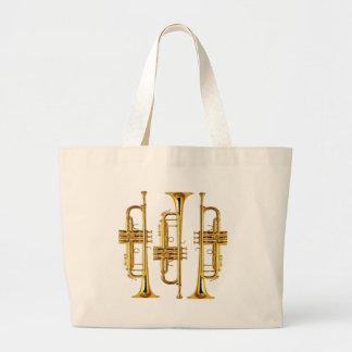 Tres trompetas bolsa de tela grande