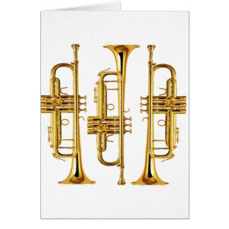 Tres trompetas tarjeta de felicitación