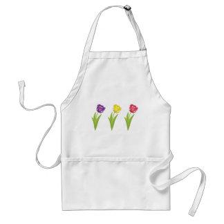 Tres tulipanes coloridos delantales