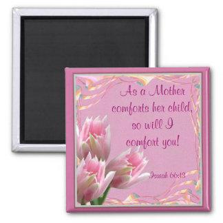 Tres tulipanes rosados imán cuadrado