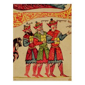 Tres unos de los reyes magos, detalle de la postal