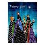 Tres unos de los reyes magos que llevan paz estrel tarjeton