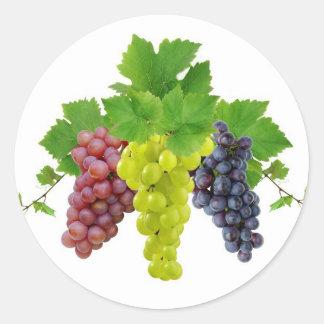 Tres uvas etiqueta redonda