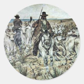 Tres vaqueros con la manada de Bull de Fattori Pegatina Redonda