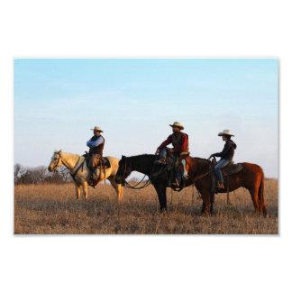 Tres vaqueros de las colinas del pedernal arte con fotos