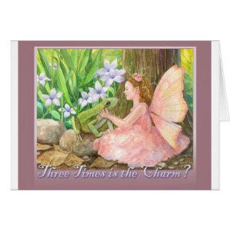 Tres veces son el encanto tarjeta de felicitación
