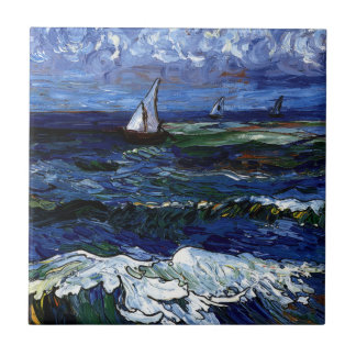 Tres veleros azulejo cuadrado pequeño