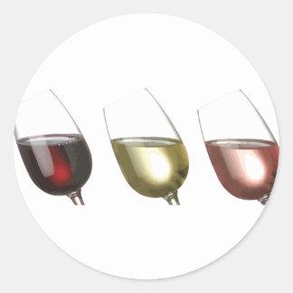 Tres vidrios del personalizado del vino pegatina redonda