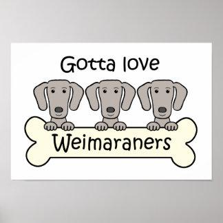 Tres Weimaraners Posters