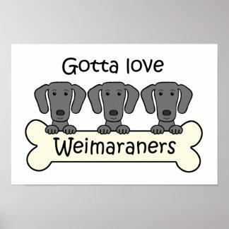 Tres Weimaraners Poster