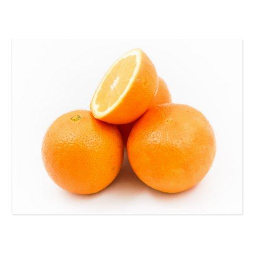 Tres y naranjas de una mitad tarjeta postal