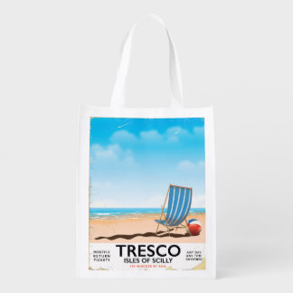 Tresco Isles of Scilly vintage train poster Reusable Grocery Bag
