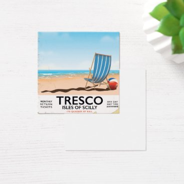 Tresco Isles of Scilly vintage train poster Square Business Card