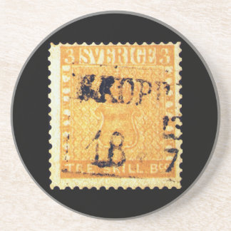 Treskilling Yellow of Sweden Sverige 3 Cent Stamp Drink Coaster