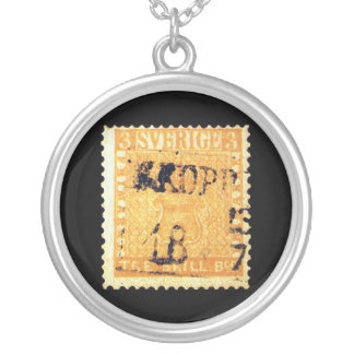 Treskilling Yellow of Sweden Sverige 3 Cent Stamp Silver Plated Necklace