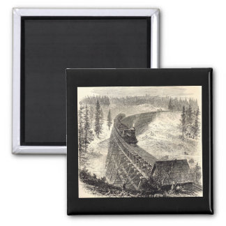 Trestle Bridge on the Pacific Railway 2 Inch Square Magnet