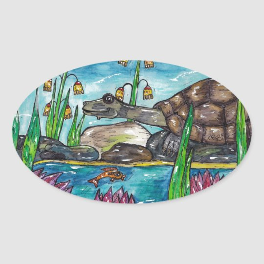 Trev the Turtle Oval Sticker