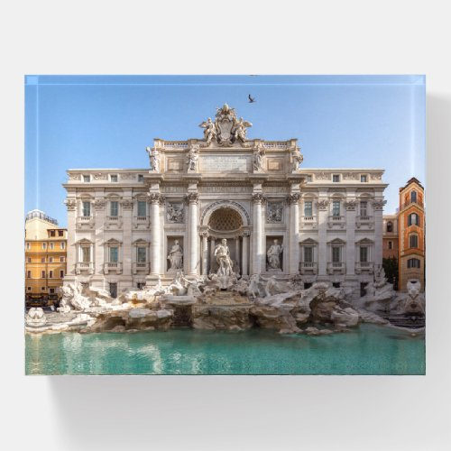 Trevi Fountain at early morning - Rome, Italy Paperweight