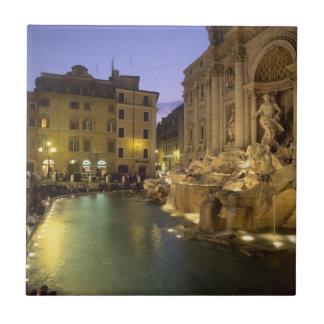 Trevi Fountain at night, Rome, Lazio, Italy Small Square Tile