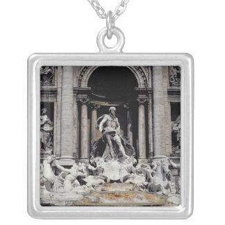 Trevi Fountain, built 1732-62 Square Pendant Necklace