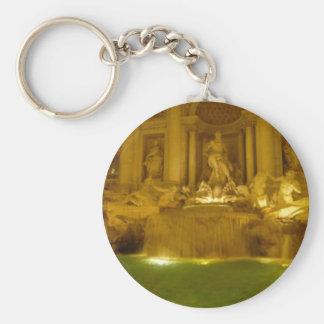 Trevi Fountain evening Basic Round Button Keychain